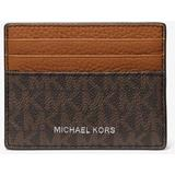Hudson Logo And Crocodile Embossed Leather Tall Card Case - Brown - Michael Kors Wallets