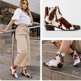 Zara Shoes | Nwt Zara Cowboy Cow Ankle Boots 10 | Color: Brown/Cream | Size: 10