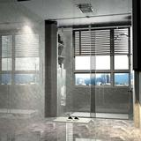 """DSH HOMES 60"""" 63""""W × 76""""H Single Sliding Frameless Shower Enclosure/Door Tempered Glass in Gray, Size 76.0 H in   Wayfair DS-XK-SS04-CH-6076"""