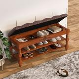 Lark Manor™ Shoe Storage Bench w/ Tufted Leather Cushioned Seat & 2-Tiers Shelves For Entryway Manufactured Wood in Brown | Wayfair
