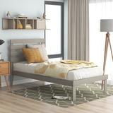 Red Barrel Studio® Wood Platform Bed w/ Headboard, Single Bed For Wood in Gray, Size 38.0 W x 77.0 D in | Wayfair F41FF7010AC94AAFBDF2173DEA6E78A5