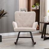 Rosdorf Park Modern Velvet Rocking Chair For Living Room Upholstered Comfortable Nursery Rocking Chair w/ Solid Wood Base For Bedroom Accent Chair