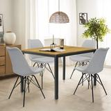 George Oliver Parson 5 - Person Rectangle Dining Sets Wood/Metal/Upholstered Chairs in Black/Brown/Gray, Size 30.0 H in | Wayfair