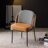 Everly Quinn Modern Upholstered Dining Chairs PU Leather Houndstooth Side Chair Set Of 2 In Gray&Brown Upholstered/Genuine Leather | Wayfair
