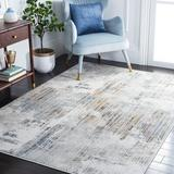 17 Stories Cesara Abstract Grey/Gold Area Rug Polyester in Yellow, Size 65.0 W x 0.35 D in   Wayfair 7277FDE50EDB44E8A0B80E374B19F7AB