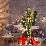 The Holiday Aisle® 5'Artificial Cactus PVC Christmas Tree w/ LED Lights & Ball Ornaments in Green/White, Size 60.0 H x 30.0 W in | Wayfair