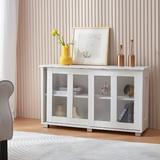 "Ebern Designs Storage Cabinet, Floor Cabinet & Buffet Sideboard w/ 2 Doors & Open Shelf For Living Room, Kitchen, Dining Room (black/39.4"") in White"