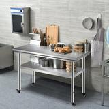 """WFX Utility™ Loftus 48"""" W Stainless Steel Top Workbench Stainless Steel in Gray, Size 31.5 H x 47.24 W x 23.62 D in 