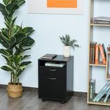 Ebern Designs Home Office 2-Drawer Mobile Vertical Filing Cabinet Wood in Black/Brown, Size 23.62 H x 15.75 W x 13.78 D in | Wayfair