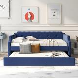 Red Barrel Studio® Upholstered Daybed w/ Trundle, Wood Slat Support,Upholstered Frame Sofa Bed Upholstered/Polyester/Polyester blend in Blue Wayfair