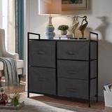 Latitude Run® 5 Drawer Storage Chest Metal/Fabric in Black, Size 30.31 H x 31.5 W x 11.41 D in | Wayfair 553840E9A2754F148B5B692F39AAC29D