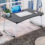 Inbox Zero Large Bed Tray Foldable Portable Multifunction Laptop Desk Lazy Laptop Table Wood in Black/Brown, Size 11.0 H x 25.6 W x 17.7 D in