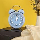 """Latitude Run® 3"""" Cute Mini Non-Ticking Vintage Classic Analog Alarm Clock For Heavy Sleepers w/ Backlight, Battery Operated Clock in Blue 