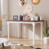 August Grove® Retro Farmhouse Solid Wood Kitchen Dining Table Breakfast Nook Brown MDF Top + White Rubber Wood Base Wood in Brown/White | Wayfair