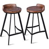 17 Stories Set Of 2 Industrial Rustic Bar Stool Mini Backrest Seat Counter Height Farmhouse Stool-Metal & Wood Top Dining Stools in Black/Brown