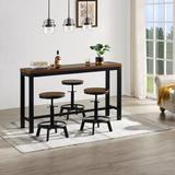 Williston Forge Bladensburg 3 - Person Counter Height Dining Set Wood/Metal in Black/Brown/Gray, Size 35.8 H in   Wayfair