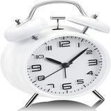 Latitude Run® Analog Alarm Clock, 4 Inches Twin Bell Alarm Clock w/ Stereoscopic Dial, Easy Set & Night Light Function in White | Wayfair