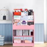 Isabelle & Max™ Children's Wooden 6 Layer Fabric Sling Bookcase in Pink, Size 39.4 H x 24.6 W x 11.8 D in   Wayfair