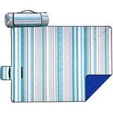 Arlmont & Co. Waterproof Picnic Blanket For Outdoors, Oversized & Sand-Proof Beach Mat Blanket, Portable Outdoor Blanket w/ Strap in Blue | Wayfair
