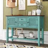 Dovecove Retro Console Table Sideboard Wood in Blue, Size 34.05 H x 46.0 W x 15.0 D in | Wayfair 2A5B80043F57484DA3B5FF7B65FCC28E