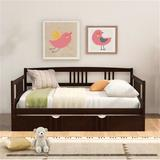 Red Barrel Studio® Full Size Daybed Wood Bed w/ Twin Size Trundle,bed, Sofa, Sofa Bed, Child, Adult, Modern Style,white Wood in Brown | Wayfair