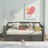 Red Barrel Studio® Full Size Daybed Wood Bed w/ Twin Size Trundle,bed, Sofa, Sofa Bed, Child, Adult, Modern Style,white Wood in Gray | Wayfair