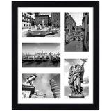 Red Barrel Studio® 11X14 Collage Picture Frame w/ Five 4X6 Picture Displays Shatter Resistant Glass Horizontal & Vertical Formats For Wall in Black