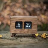Corrigan Studio® Wood Retro Style Flip Clock Classic Mechanical-Digital Display Battery Powered, Home & Office Decor Timepiece in Brown | Wayfair
