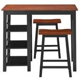 Red Barrel Studio® 3 Piece Dining Set, Entirely Wood Counter Height Table Set w/ 2 Chair & 3-Tier Storage Shelves in Black/Brown | Wayfair