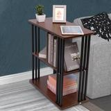 Ebern Designs Rustic End Table 3-Tier Chair Side Table Night Stand w/ Storage Shelf For Room Wood in Brown, Size 24.8032 H x 23.622 W x 11.811 D in