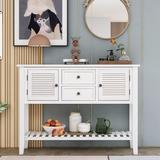 Dovecove Retro Console Table Sideboard Wood in White, Size 34.05 H x 46.0 W x 15.0 D in | Wayfair F34DC8F9BBB24E2091247F03E940B5A3