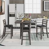 Red Barrel Studio® 5-Piece Wooden Counter Height Dining Set w/ Padded Chairs & Storage Shelving, Espresso Wood/Upholstered Chairs in Gray | Wayfair