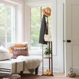 Ebern Designs Coat Rack, Bamboo Standing Coat & Hat Hanger Organizer Rack, Coat Rack Free Standing, Coat Tree w/ 5 Hooks, Coat Stand For Coats, Hats