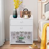 Winston Porter Bedside Tables Cabinet 2 Drawer Night Stand Storage Furniture Shelf Cupboard,2 Wood in Brown/White, Size 19.7 H x 15.8 W x 11.8 D in