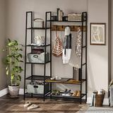 17 Stories Hall Tree w/ Shoe Storage Bench, Entryway Coat Rack w/ 5 Side Storage Shelves, 2 Foldable Storage Cubes, 5 Moveable Hooks Wood/Metal