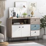 Corrigan Studio® Storage Cabinet w/ 3 Drawer 2 Doors 1 Shelves Wood in Brown/Gray, Size 30.3 H x 41.9 W x 15.4 D in   Wayfair