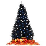 The Holiday Aisle® 6Ft Hinged Artificial Halloween Christmas Tree in Black, Size 90.0 H x 51.6 W in   Wayfair 2799C008A7114369AEF181DBC033A19F