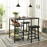 17 Stories 3 Piece Dining Table Set, Counter Height Pub Table & Chairs Set, 3 Tier Storage Shelves, Kitchen Table Set in Black | Wayfair