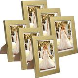 """Latitude Run® Aidaliz 4 Frames 5"""" X 7"""" Wood Single Picture Frame Set in Gold Color Wood in Yellow, Size 7.0 H x 5.0 W x 0.6 D in 