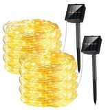The Holiday Aisle® Solar String Lights Outdoor, 2 Pack 100 LED Solar Fairy Lights, 8 Modes Solar Copper Wire Twinkle Lights For Patio, Garden, Tree