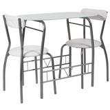 17 Stories 3 Piece Space-Saver Bistro Set w/ Black Glass Top Table & Black Vinyl Padded Chairs Wood/Metal in Gray   Wayfair