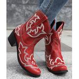 BUTITI Women's Western Boots Red - Red & White Western Embroidered Cowboy Boots - Women