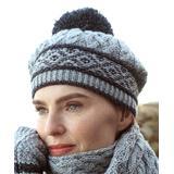 West End Knitwear Women's Beanies Soft - Soft & Dark Gray Fair Isle Pom-Pom Wool Beanie - Women