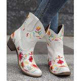 BUTITI Women's Western Boots White - White & Red Floral Embroidered Cowboy Boots - Women
