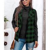 Camisa Women's Outerwear Vests Green - Green Buffalo Check Drape Open Vest - Women & Plus
