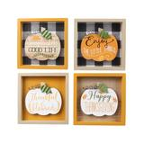 Young's Block Signs N/A - Brown & Black Plaid 'Simple Life' Pumpkin Box Sign - Set of Four