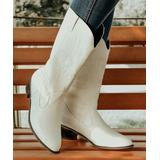 ROSY Women's Casual boots White - White Embroidered-Stitch Pointed-Toe Cowboy Boot - Women