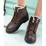 PAOTMBU Women's Cold Weather Boots brown - Brown Faux Fur-Lined Ankle Boot - Women