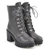 BUTITI Women's Casual boots Gray - Gray Platform Combat Boot - Women