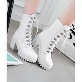 BUTITI Women's Casual boots White - White Platform Combat Boot - Women